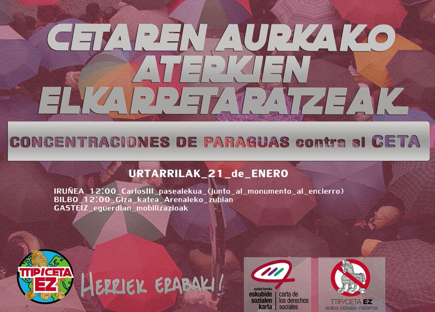Concentración de paraguas contra el CETA