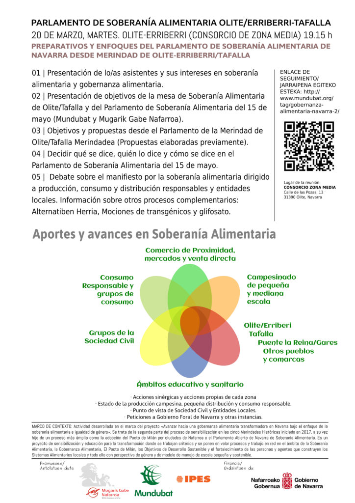 ORDEN DEL DÍA---RRSS---2018 - Parlamento de Soberanía Alimentaria. Olite. Tafalla